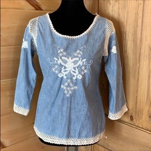 Lucky Brand blue embroidered top with crochet trim